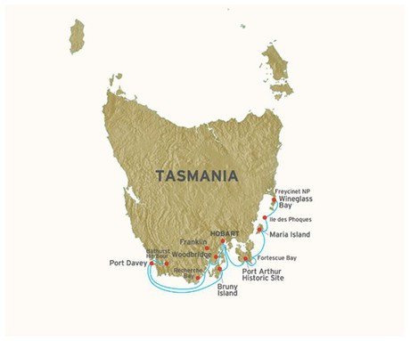 Map for Coastal Wilds Of Tasmania (Coral Discoverer)