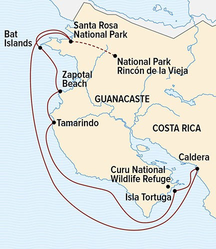 Map for Wild Costa Rica Escape: Guanacaste's Coral Reefs & Volcanic Peaks