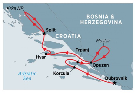 Map for Croatia Coastal Cruising: Dubrovnik to Split