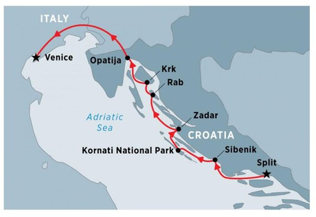 Map for Cruising Croatia's Northern Coast and Islands: Split to Venice