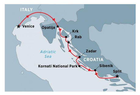 Map for Cruising Croatia's Northern Coast & Islands: Venice to Split