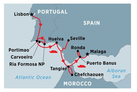 Map for Cruising Spain, Portugal and Morocco: Lisbon to Malaga