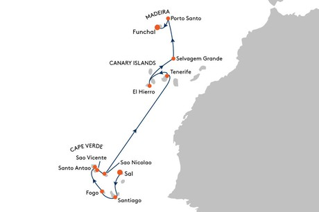 Map for From Sal to Funchal Cruise