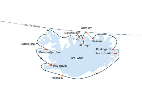 Map for From Reykjavik to Reykjavik Cruise