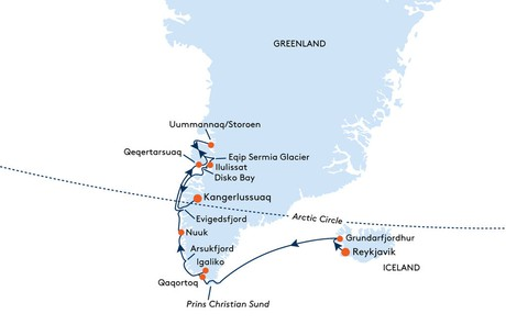 Map for From Reykjavik to Kangerlussuaq Cruise