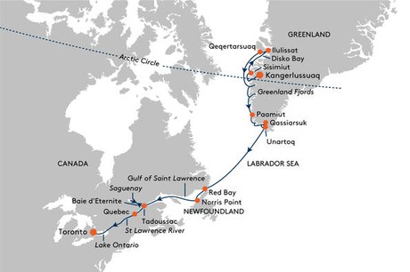 Map for From Kangerlussuaq to Toronto Cruise