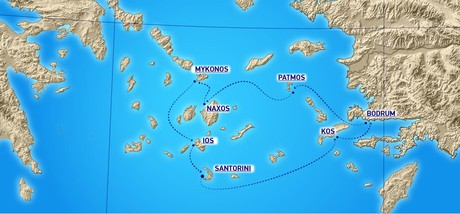 Map for Dodecanese Cruise (Running on Waves)