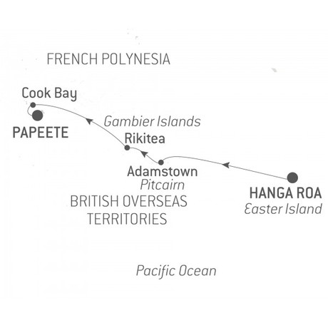 Map for Easter Island and Polynesia 2019/2020