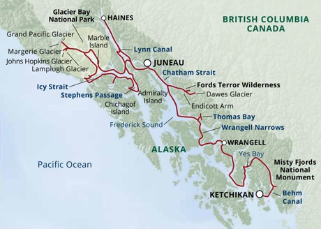 Map for Eastern Fjords & Glacier Bay Cruise — Ultimate Expedition (Wilderness Discoverer)