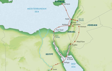 Map for Crossroads of Empires: Cyprus, Israel, Egypt & Jordan