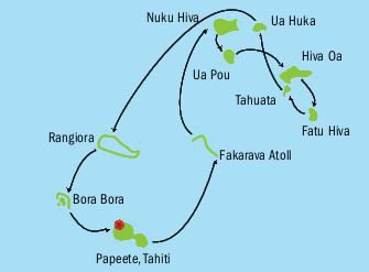 Map for Explore the Enchanting Marquesas Islands Of French Polynesia - 15 Days