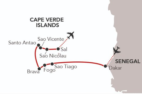 Map for Exploring the Cape Verde Islands (Caledonian Sky)