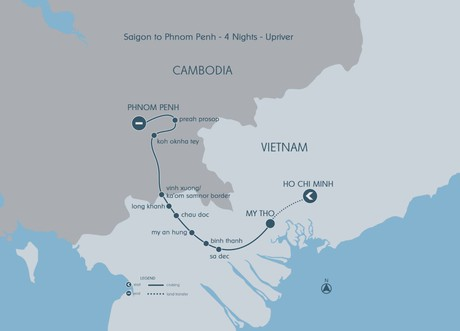 Map for Explorer Cruise - From Saigon To Phnom Penh