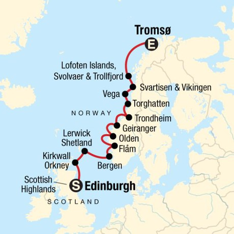 Map for Explore the Norwegian Fjords & Scottish Highlands