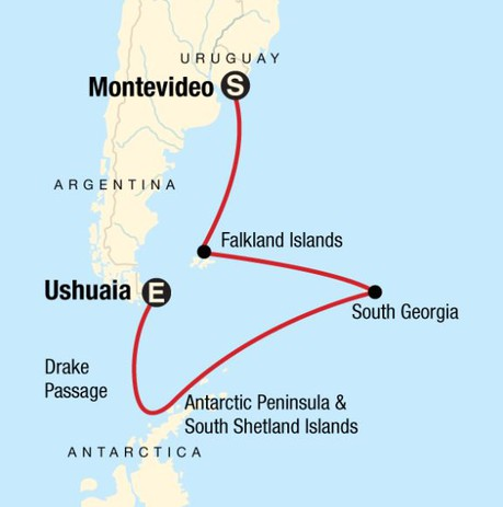 Map for Falklands, South Georgia and Antarctic Islands