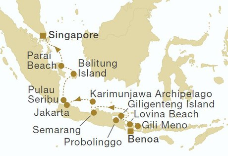 Map for From Bali to Singapore (Star Clipper)