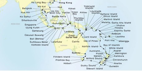 Map for From Hong Kong to Sydney 93 Days (Sea Dream Innovation)
