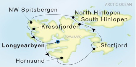 Map for From Longyearbyen to Longyearbyen Around 8 Days (Sea Dream Innovation)