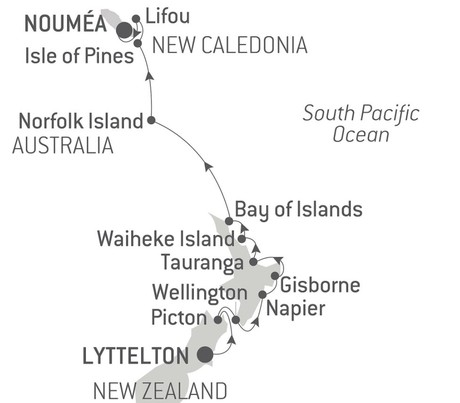 Map for From New Zealand to New Caledonia with Ponant