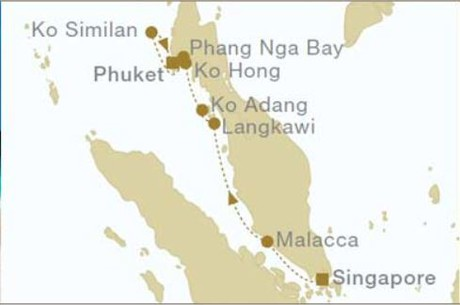 Map for From Singapore to Phuket (Star Clipper)