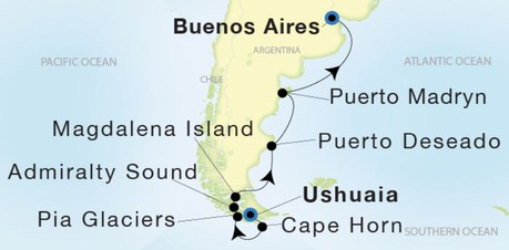 Map for From Ushuaia to Buenos Aires (Sea Dream Innovation)