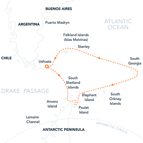 Map for Falklands, S. Georgia & Antarctica (Hebridean Sky)