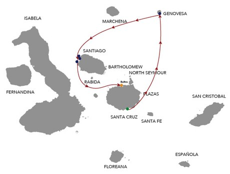 Map for Natural Paradise Galapagos Cruise 4 Days