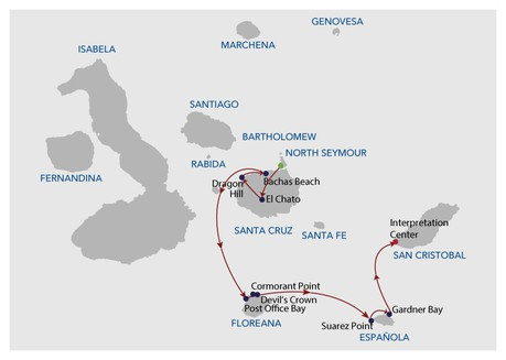 Map for Galapagos Cruise - 5 Days (Infinity)