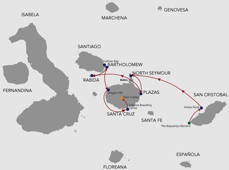 Map for Natural Paradise Galapagos Cruise 5 Days