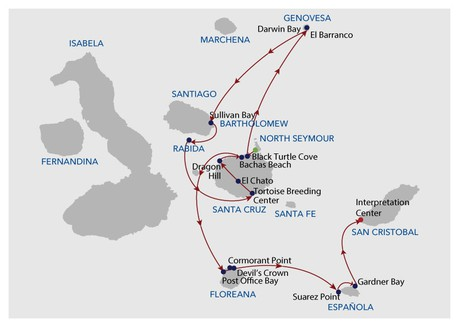 Map for Galapagos Cruise - 8 Days A (Infinity)