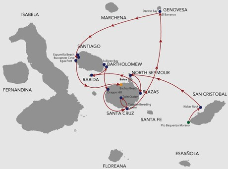 Map for Natural Paradise Galapagos Cruise 8 Days A