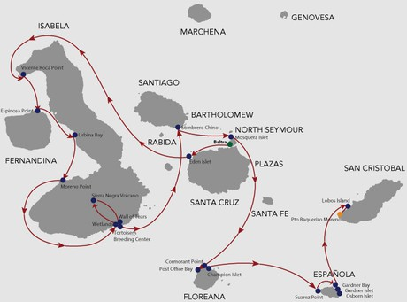 Map for Natural Paradise Galapagos Cruise 8 Days B