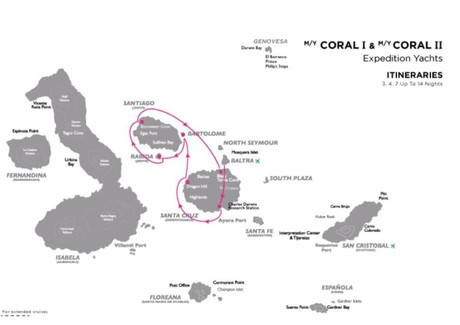 Map for Galapagos North - Central Cruise A (Coral I & II)