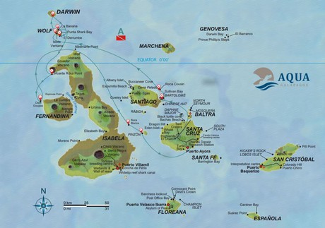 Map for Aqua Galapagos Diving Cruise Itinerary A