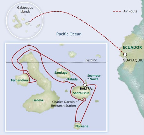 Map for Darwin's Discoveries—The Galapagos Islands