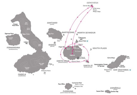 Map for Galapagos North - Central Cruise A (Galapagos Legend)