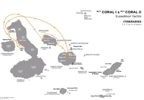 Map for Galapagos West Cruise B (Coral I & II)