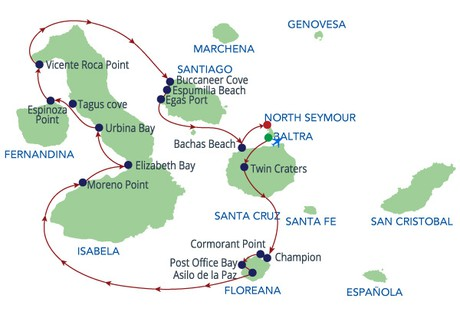 Map for Galapagos Western Route (Reina Silvia)