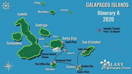 Map for 5 Day Galapagos Cruise A (Galaxy)