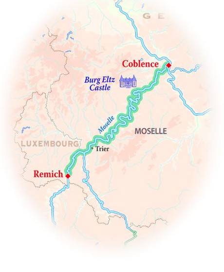 Map for Germany & Luxembourg Cruise (La Nouvelle Etoile)