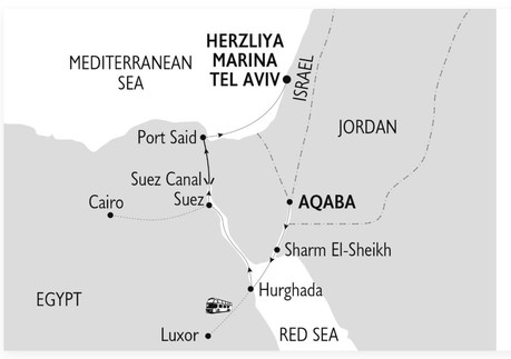 Map for Gods, Kings & Pharaohs Crossing the Suez Canal: Egypt, Jordan & Israel