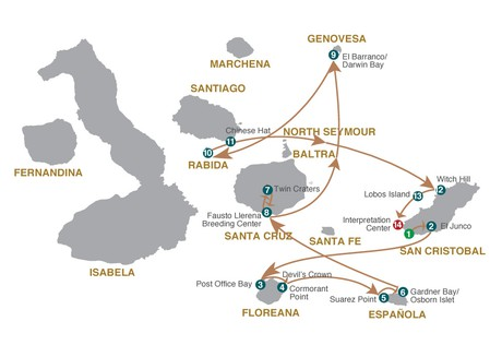 Map for Galapagos Cruise - 8 Days A (Grand Majestic)