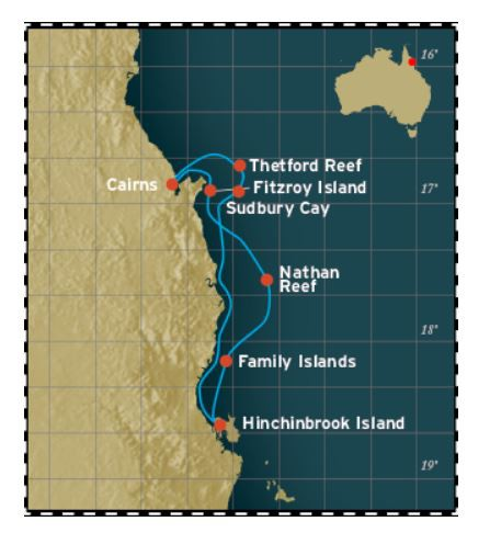 Map for Great Barrier Reef - 4 Days Cruise