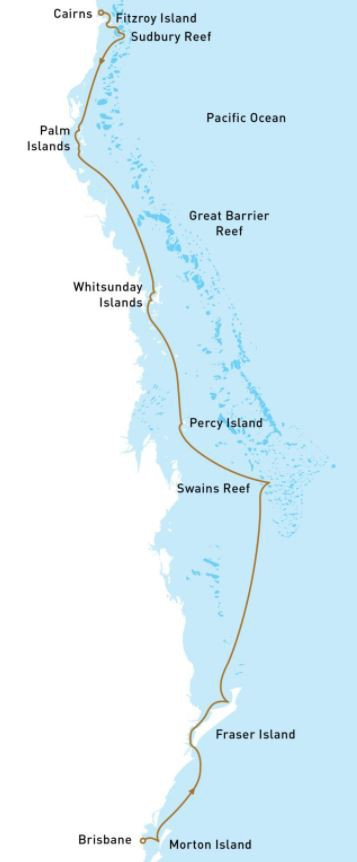 Map for Great Barrier Reef Cruise