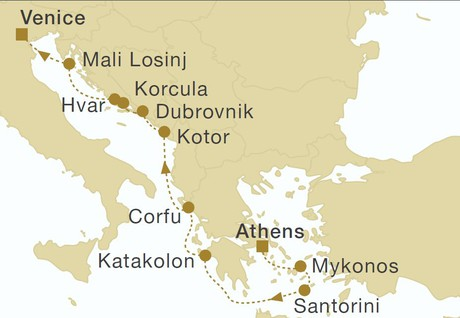 Map for Greece, Montenegro & Croatia 12 Days (Star Flyer)