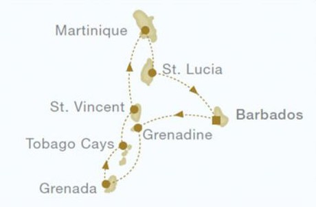 Map for Grenadine Islands Christmas Cruise (Royal Clipper)