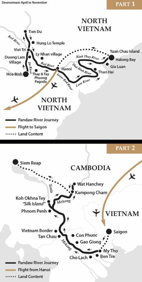 Map for Saigon, Siem Reap, Halong Bay & Hanoi