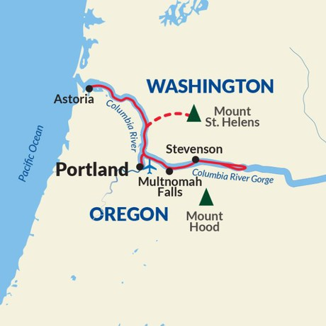 Map for Highlights of the Columbia River Cruise