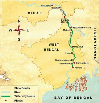 Map for Historic Lower Ganges Cruise (ABN Rajmahal)