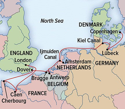 Map for North Sea Voyage: Northern Europe & the Normandy Beaches
